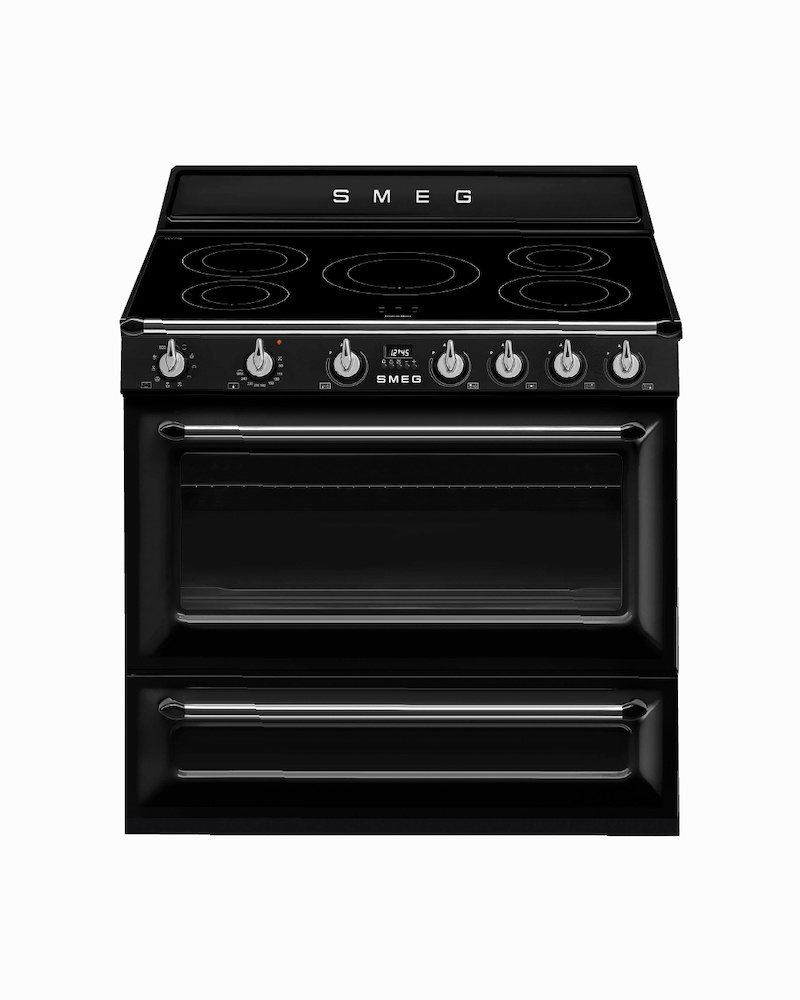 TR90IBL9 | 90CM Black Victoria Cooker 5-Zone Induction Hob With Single Electric Oven With Rotisserie Function 115L