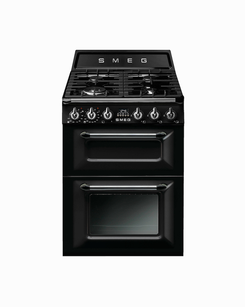 TR62BL | 60CM Black Victoria Cooker with Dual Ovens & Gas Hob