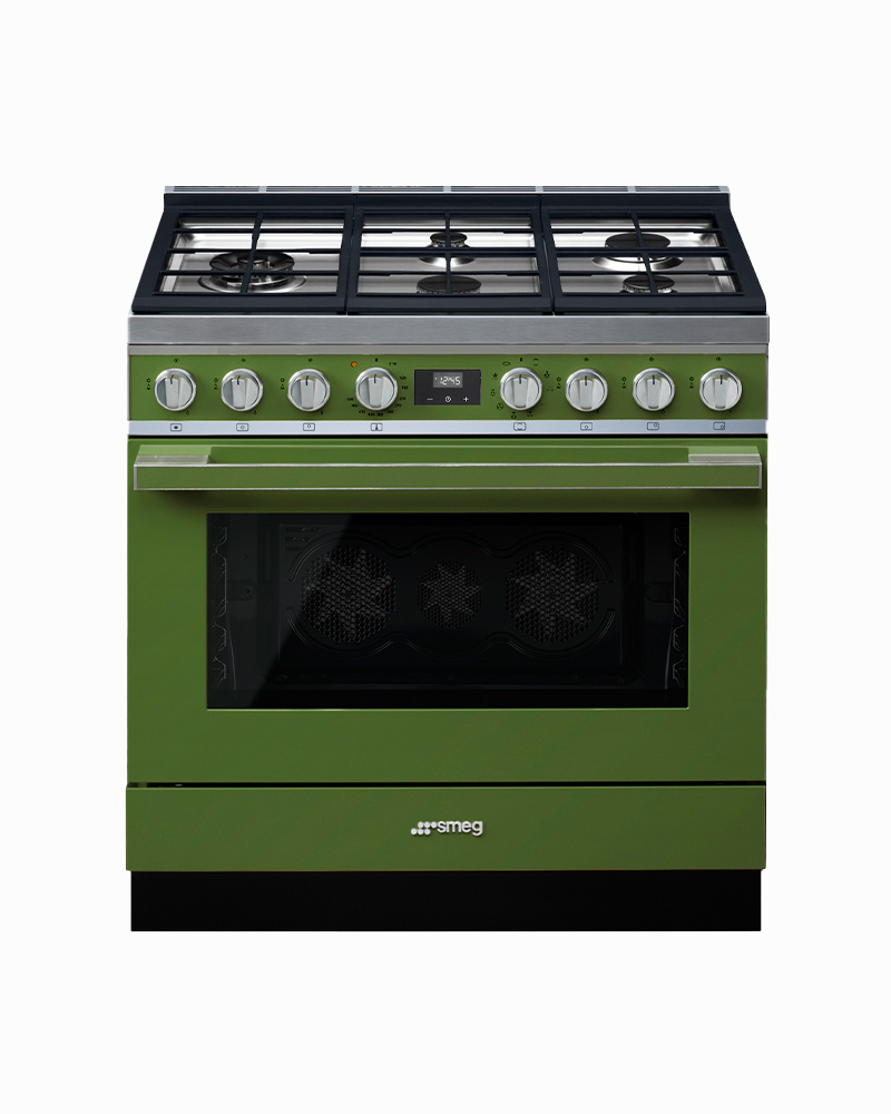 CPF36UGMOG | 90CM Olive Green Portofino Cooker with 5-Burner Gas Hob with Thermo-ventilated Oven