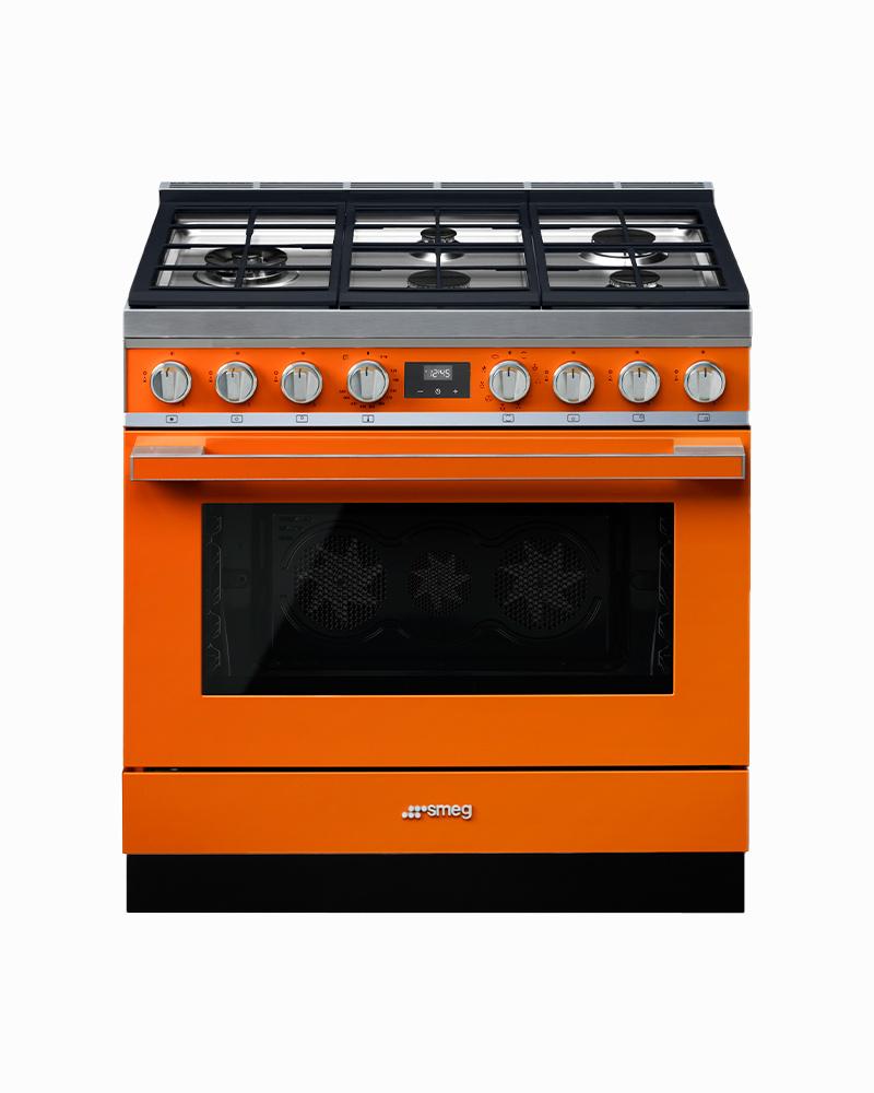 CPF36UGMOR | 90CM Orange Portofino Cooker with 5-Burner Gas Hob with Thermo-ventilated Oven