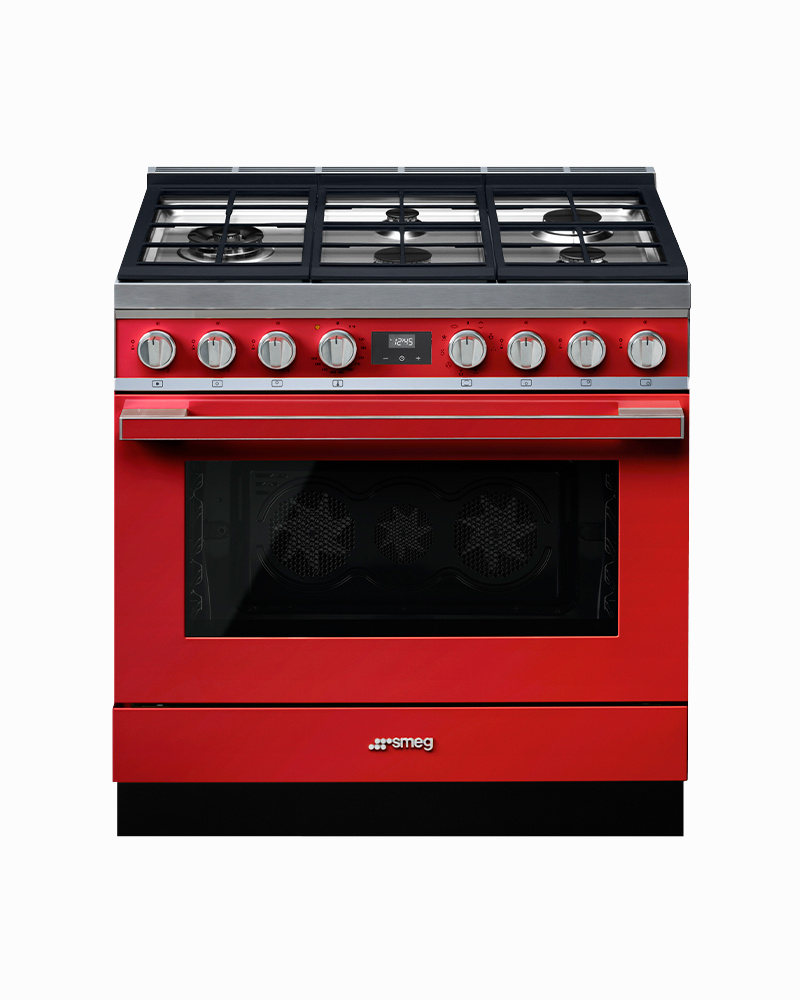 CPF36UGMR | 90CM Red Portofino Cooker with 5-Burner Gas Hob with Thermo-ventilated Oven