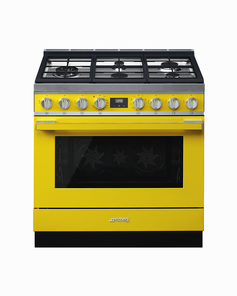 CPF36UGMYW | 90CM Yellow Portofino Cooker with 5-Burner Gas Hob with Thermo-ventilated Oven